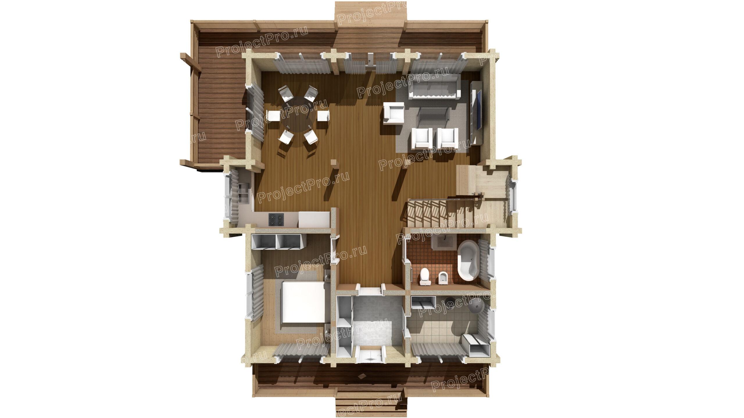 План дома из клееного бруса. 1-й этаж