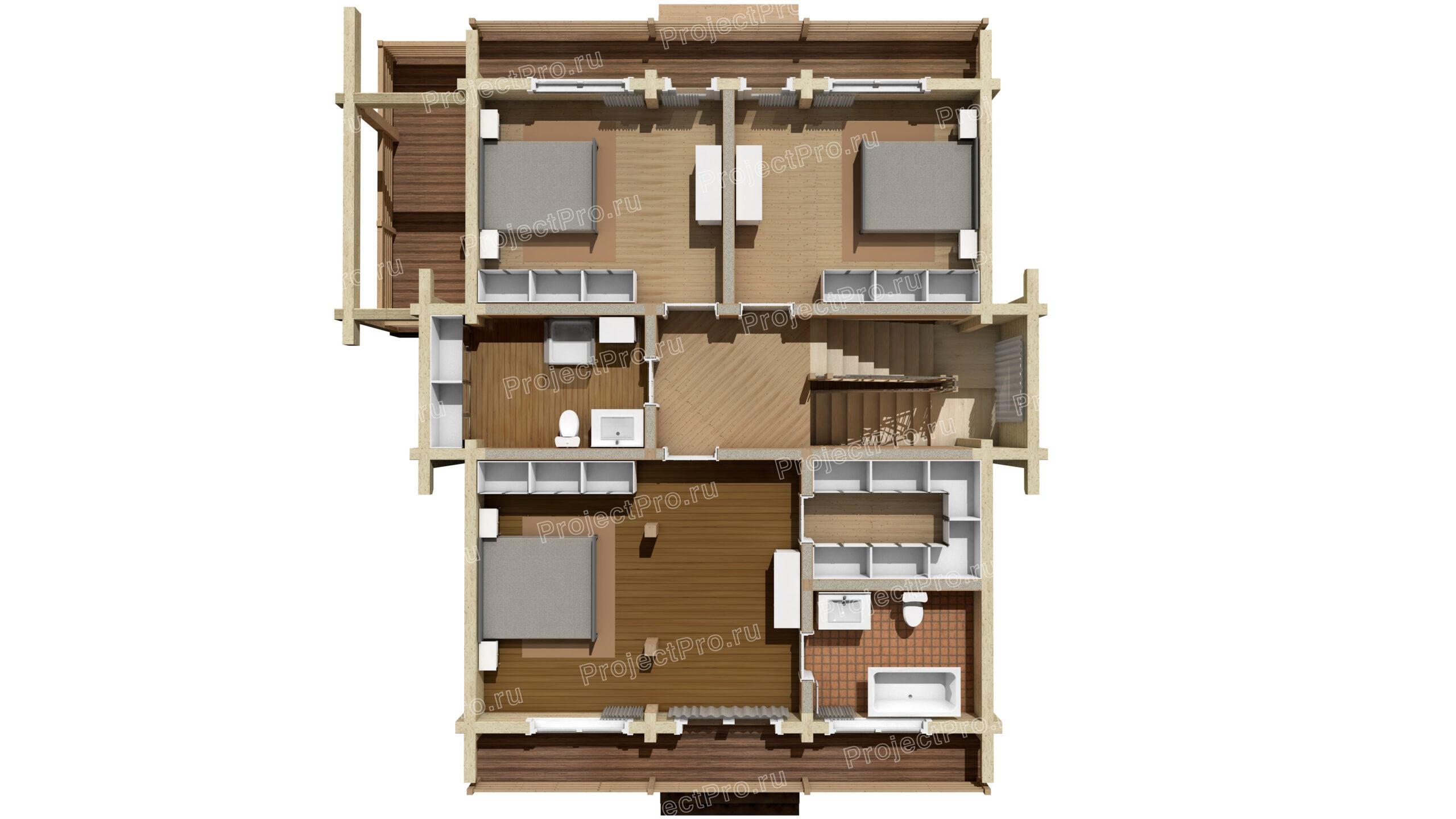 План дома из клееного бруса. 2-й этаж