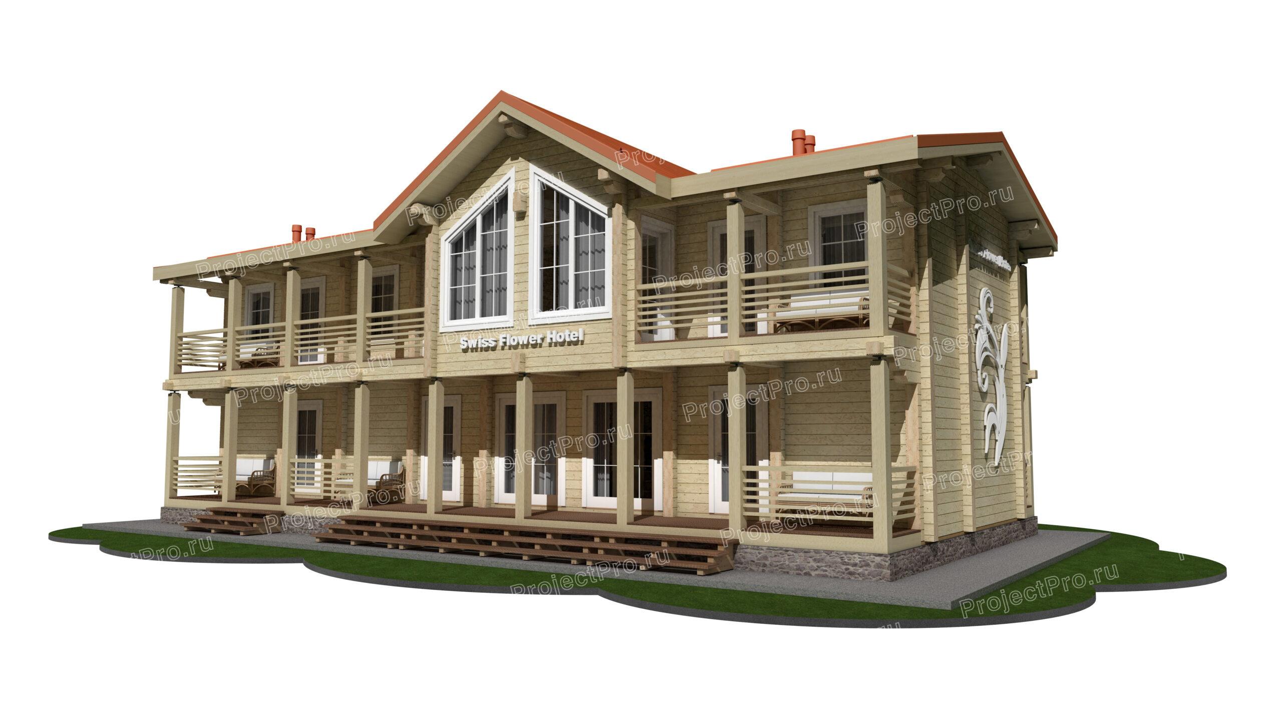 Проект небольшого отеля в горах из бруса клееного