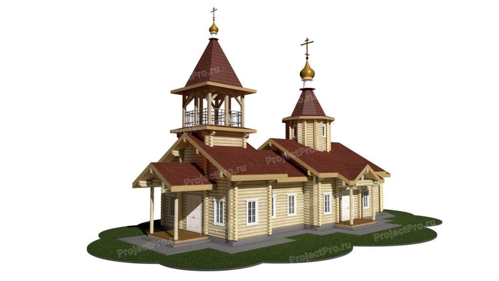 Проект храма из оцилиндрованного бревна D240