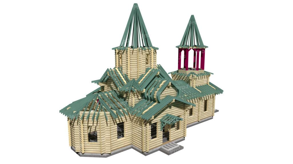 Проект деревянного храма из бревна. Конструкции деревянные. Разбревновка