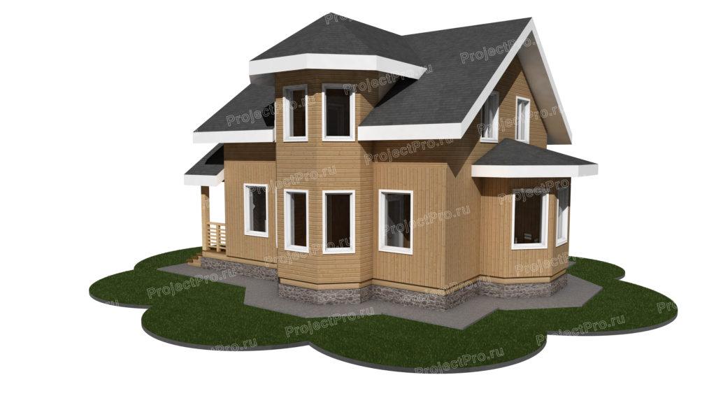 Проект двухэтажного традиционного каркасного дома