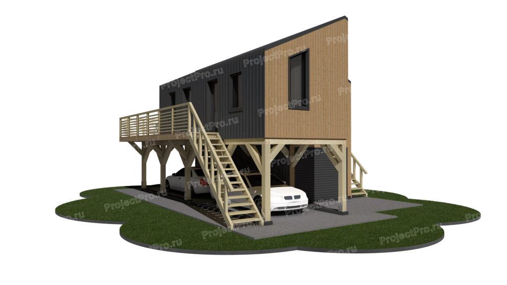 Проект гостевого дома с применением гибридной каркасной технологии